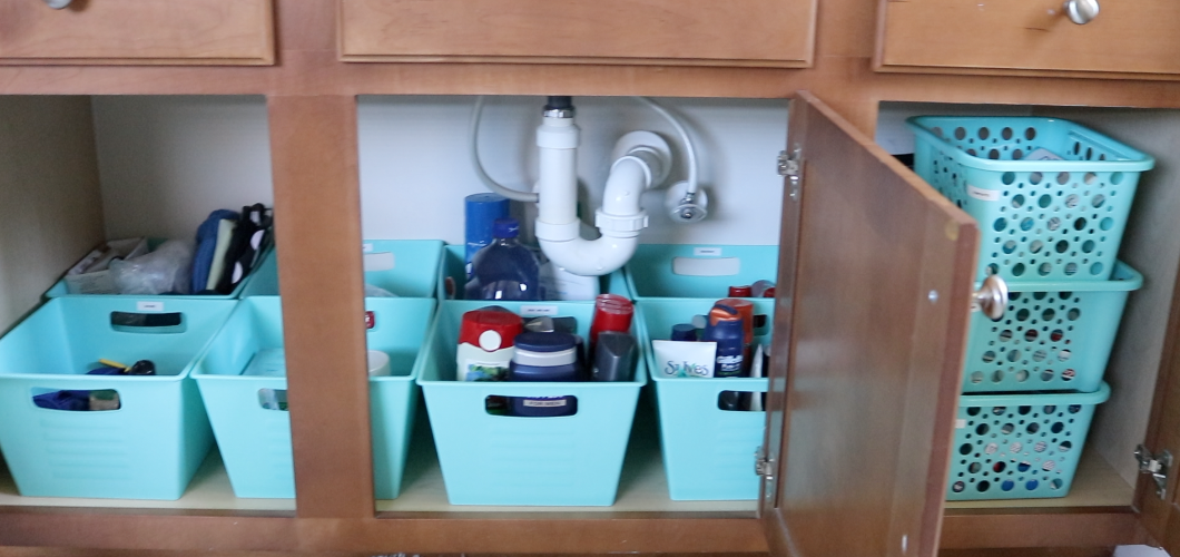 How to organize under the bathroom sink!
